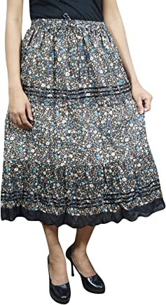f71e871058 Indiatrendzs Womens Black Midi Skirt Floral Printed Drawstring Cotton  A-line Skirt S/M