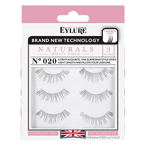 206ca654466 Eylure Naturals False Eyelashes Multipack, Style No. 020, Reusable,  Adhesive Included,