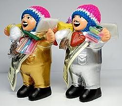 【 EKEKO 19cm GOLD & SILVER SET 】ワイルーロの実プレゼント中!エケコ人形19cm Lサイズ 金(ゴールド)&銀(シルバー)お得な2体セット【当店 Vivas Latin Shopオリジナル モデル】ペルー製