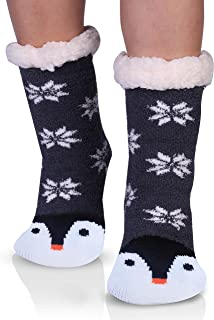 Women's Fuzzy Slipper Socks With Grippers Warm Cozy Cute Animal Gifts