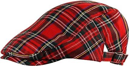 Itzu Flat Cap Hat Newsboy Gatsby Scottish Tartan Check in Red