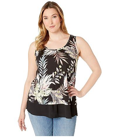 Karen Kane Plus Plus Size Sheer Hem Tank (Print) Women
