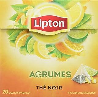 Lipton Thé Noir Agrumes, Mélange Frais et Acidulé, Citron, Citron Vert, Orange & Pamplemousse, Certifié Rainforest Allianc...