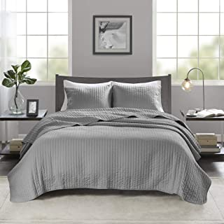 """Madison Park Keaton King Size Set 3 Piece Ultra Soft Microfiber Bed Quilted Coverlet, King/Cal King(104""""x94""""), Stripe Grey"""