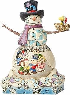 """Enesco Jim Shore Snowman with Peanuts Scene Stone Resin, 9"""" Figurine"""