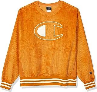 Champion LIFE Mens S4449 Corduroy Crew - Large Center Chest C Logo Sweatshirt - Gold - Large