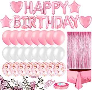 MOVINPE Pink Birthday Party Decoration, Happy Birthday Banner, Rose Gold Fringe Curtain, Foil Tablecloth, Heart Star Foil ...