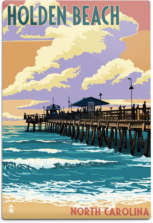 Lantern Product Max 65% OFF Press Holden Beach North Carolina Fishing Pier 12x18