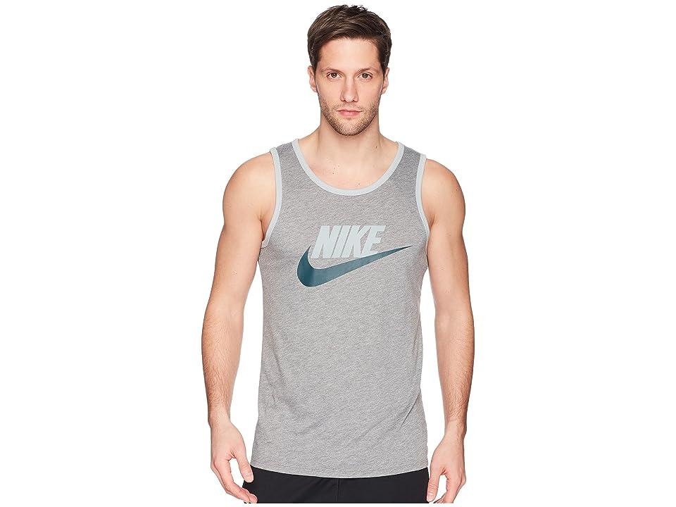 Nike Ace Logo Tank Top (Carbon Heather/Light Pumice/Deep Jungle) Men