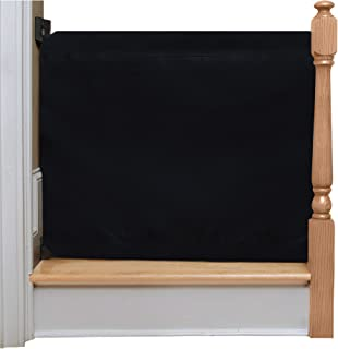 The Stair Barrier Baby and Pet Gate – Wall-to-Banister- Retractable Fabric Safety Gate Wide and Regular Sizes - Made in the USA – Black Wide