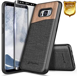 Galaxy S8 Case with Full Coverage Screen Protector 3D PET, NageBee [Natural Wood] Premium Canvas Fabrics Shockproof Dual Layer Armor Hybrid Defender Rugged Durable Case for Samsung Galaxy S8 -Wood
