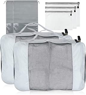 صناديق التعبئة من Abimars للحقائب، حقائب المنظم، منظم حقائب السفر، حقيبة الأمتعة اليدوية مجموعة قيمة للسفر, , رمادي - FUZ...