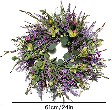 Firlar Artificial Lavender Wreath, 24Inch Front Door Wreath Lavender Flower Wreath with Greenery Eucalyptus Leaves, Spring Su