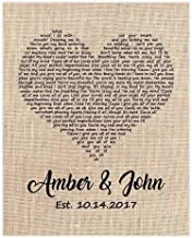 Wedding Song Gift, First Dance Lyrics, Personalized with Your Song Choice
