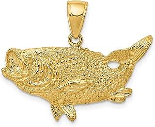 14k Yellow Gold Solid Open-Back Largemouth Bass Fish Pendant 22x27mm