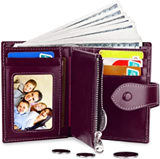 Women's Genuine Leather Wallet Card Holder Change Purse Coin Pocket with ID Window Purple
