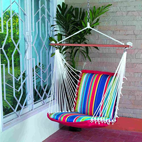 Oak N' Oak Comfortable & Relaxing Indoor & Outdoor Hanging Chair Furniture,Tropical Palm Stripe