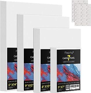 Magicfly Lot de 28 Canvas Peinture Toile à Peindre, Panneau de Toile Vierge Blanche 12.7x18, 20x25, 23x30.5, 28x35.6cm 4 T...