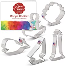 Ann Clark Cookie Cutters 5-Piece Nautical Cookie Cutter Set with Recipe Booklet, Anchor, Sailboat, Lighthouse, Seashell an...