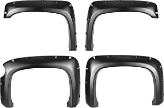 CAREPAIR 4pcs Front and Rear Textured Black Aftermarket Pocket Riveted Style ABS Plastic Bolt On Fender Flares for 2007-2013 Chevy Silverado 1500 Short Bed