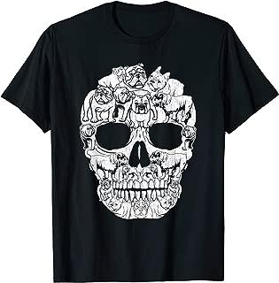 English Bulldog Dog Skull Halloween Costumes Gift T-Shirt