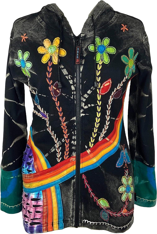 Agan Traders Women's Rib Cotton Rainbow Bohemian Distressed Hoodie Sweatshirts Jackets