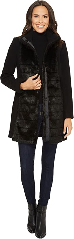 Tribal - Long Sleeve Faux Fur Trim Coat