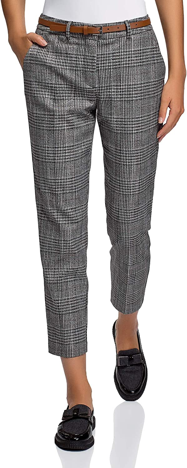 oodji Collection Women's Trousers 期間限定送料無料 Belted 新作製品 世界最高品質人気 Printed