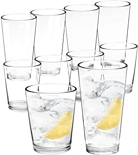 Youngever Bistro Premium Quality Plastic Drinking Tumblers, Plastic Glasses, Reusable Plastic Cups, Unbreakable Glasses, Drinking Glasses (16 Ounce & 22 Ounce, Set of 8)