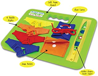 BUCKLE TOY BUSY BOARD - Learn to Snap, Zip, Tie Shoe Laces and Buckle