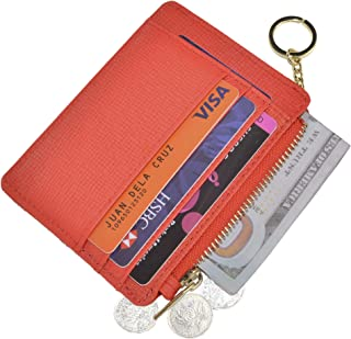 Womens Slim RFID Credit Card Holder Mini Front Pocket Wallet Coin Purse Keychain - Red - Small
