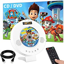 Jinhoo Bluetooth DVD CD Player Wall Mountable DVD CD Player with Built-in HiFi Speakers, PAL NTSC System, Anti-Skip Protection, USB and HDMI Output for TV Projector, HDMI AV Cable Included