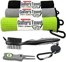 Fireball Golf Towel Gifts and Accessories Set (many colors) - 3 golf towels, golf divot tool, ball marker, and golf cleani...