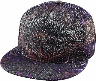 Adjustable 3D Printed Flat Bill Baseball Cap,Hip Hop Dancing Snapback Hat