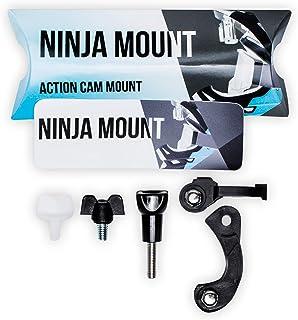NINJA MOUNT Action Kamera Halterung Fullface Helme | kompatibel mit GoPro, Garmin & Rollei | spezieller Mount für Downhill/ATV/Motocross Helme mit Visier | Made in Germany | schwarz