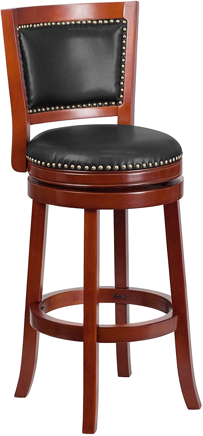 Flash Furniture TA-355530-DC-GG 30'' High Dark Cherry Wood Barstool with Walnut Leather Swivel Seat