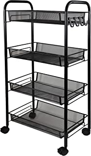 Aewio 4-Tier Metal Rolling Utility Cart Storage Organizer Shelf with Lockable Wheels for Home Kitchen Living Room Bedroom ...
