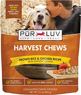 Pur Luv Harvest Chews, Brown Rice & Chicken, 21 Oz