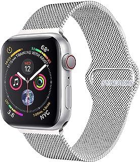 For apple watch バンド,コンパチブルiWatch通用ベルト,ミラネーゼループ アップルウォッチバンド apple watch ベルトapple watch series 1/2/3/4に対応 交換ベルトステンレス留め金製(42mm/44mm,シルバー(銀))