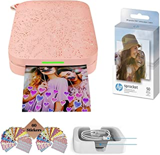 HP Sprocket Photo Printer (2nd Edition) Instantly Print Social Media Photos on 2x3 Sticky-Backed Paper (Blush) + Photo Pap...