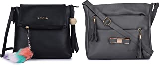 GLOSSY Women's Sling Bag with Key chain (Set of 2, Black & Grey)