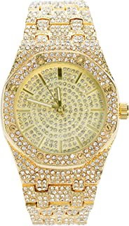 Men's 40mm Iced Out CZ Analog Watch with Tapered Metal Band Strap and Octagon Dial - Quartz Movement - Adjustable Links