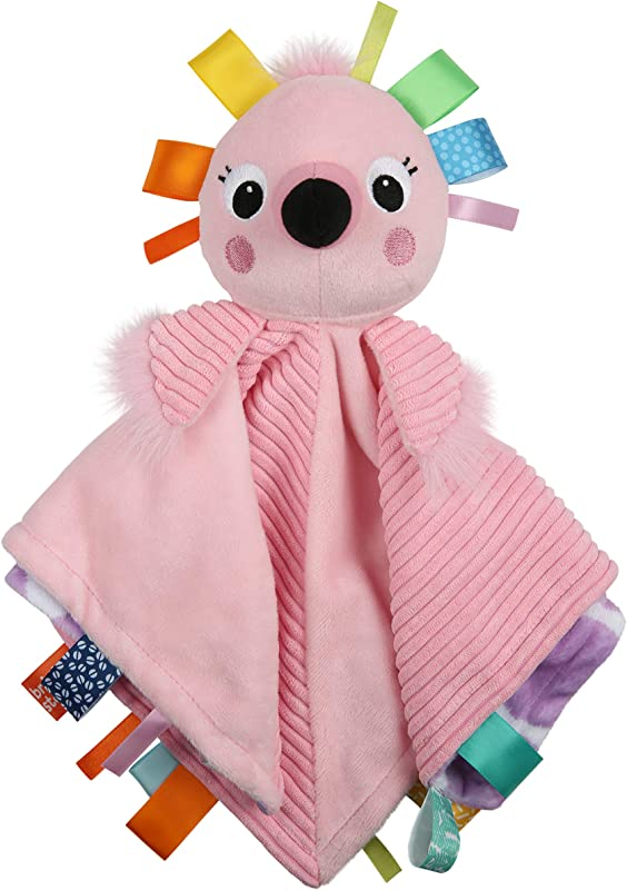 Bright Starts Cuddle N Tags 2 Sided Lovie Soothing Blanket Flamingo Newborn