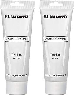 U.S. Art Supply Artists Acrylic Color Paint, Titanium White, 2 Extra-Large 120ml Tubes - Professional Grade, Excellent Tin...