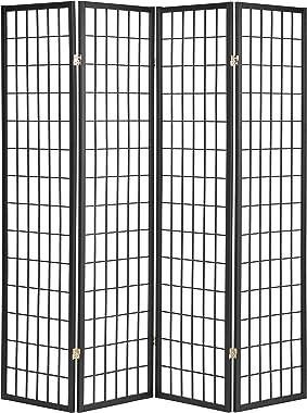 ORE International 4-Panel Shoji Screen Room Divider, Black