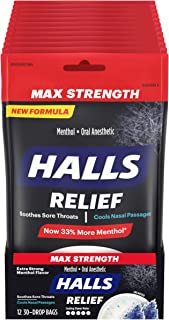 HALLS Relief Max Strength Extra Strong Menthol Throat Drops, 12 Packs of 30 Drops (360 Total Drops)
