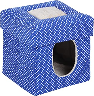 Naaz Pet Supplies Foldable House for Small Dogs Cat and Kittens (Blue, Colour May Vary)
