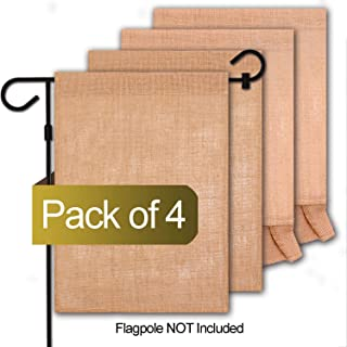 HiGift 4 Pack DIY Blank Burlap Garden Flag Mixed 2 Shapes, Personalized DIY Fall Yard Flag for Patio Garden Yard Outdoor Decorations