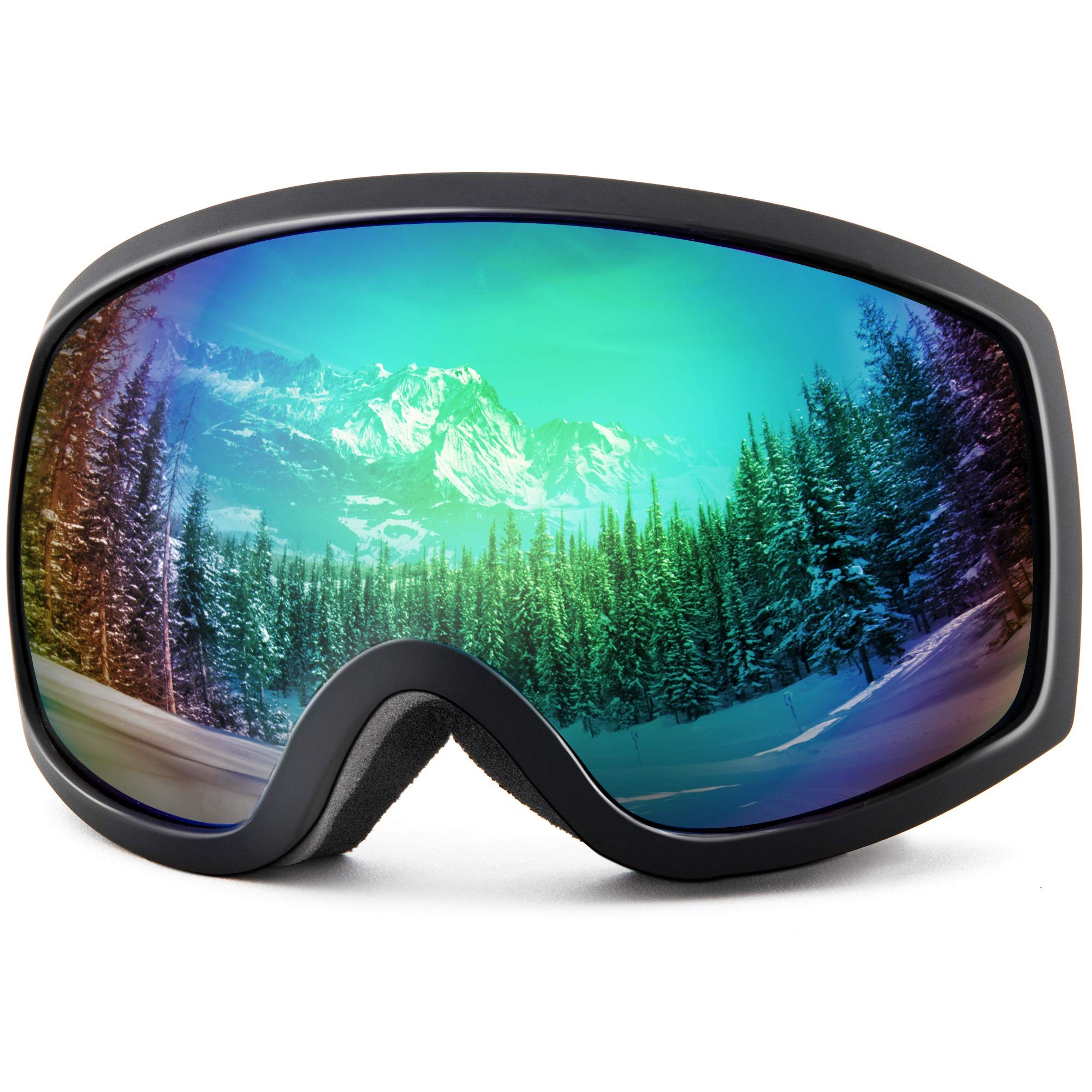Wantdo Adult Ski Goggle Skate Motorcycle Dual Layers Lens Anti Fog UV 400 Protection OTG Helmet Compatible