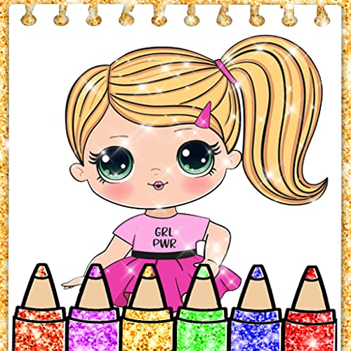 Glitter Coloring Book Pages for Dolls
